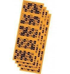 Cartones de bingo troquelados color naranja