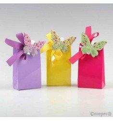 Pinzas mariposas multicolor metal con 3 bombones