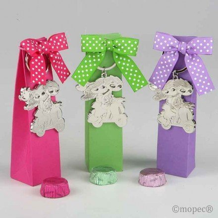 Key Pop & Fun bike fuchsia box / green / purple two chocolates