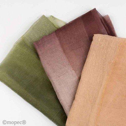 Foulard liso 2 tonos beige, marrón y verde