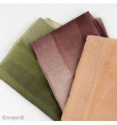 2 smooth foulard beige, brown and green