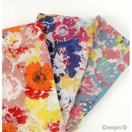 Flower print scarf in pouch with loop