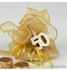 Gilded wood clamp 50 anniversary with 4 chocolates