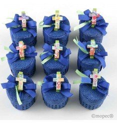 Cajita azul pinza cruz