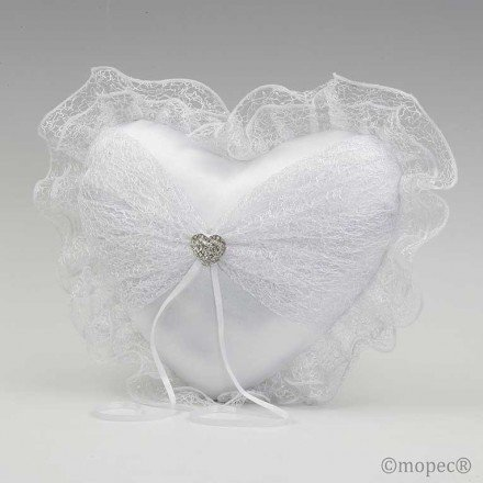 Cushion alliance tul white brooch heart