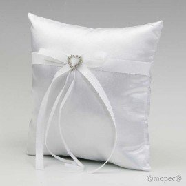 Cushion alliances white with rhinestone heart