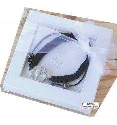 Detail black braided bracelet peace symbol