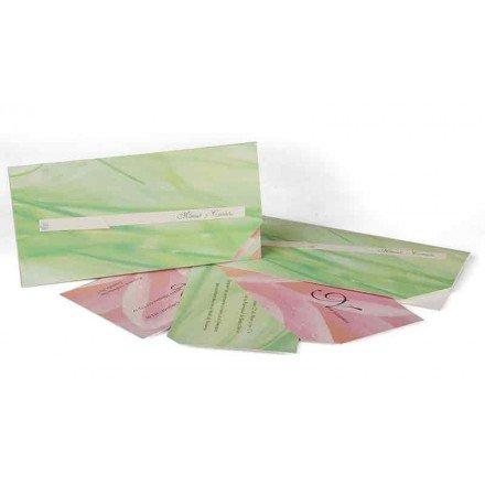Invitación verde y rosa