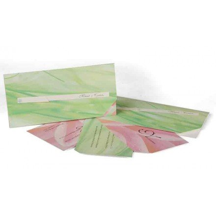 Wedding Invitation green and pink