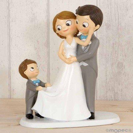 Figura pastel Pop & Fun novios con niño/a