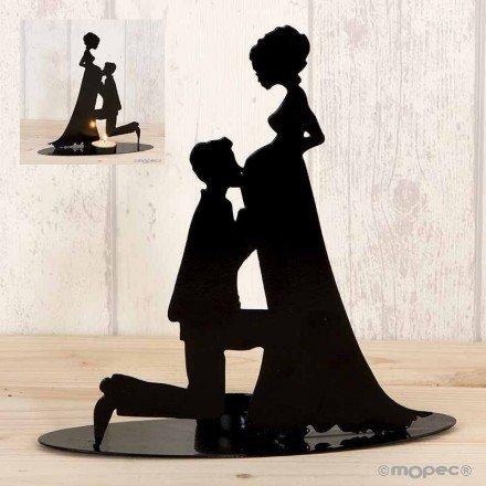 Figura pastel portavela novia embarazada