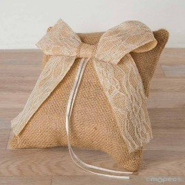 Rustic alliance cushion and lace bow