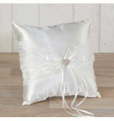 Cushion rasono and lace with rhinestone heart