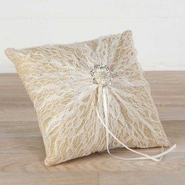 Cushion alliances burlap with lace pearl brooch