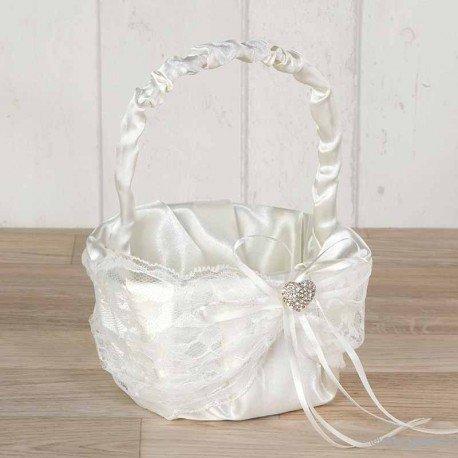 Basket arras blonda marfin with heart of rhinestones