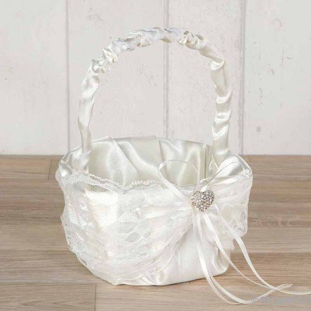 Basket arras blonda marfil with heart of rhinestones