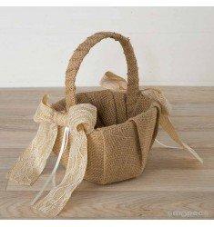 Cesta con lazo rustic arras of beige lace