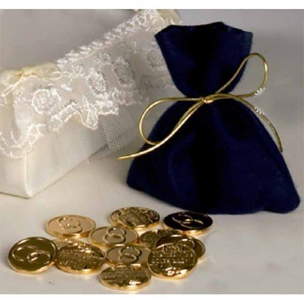 Saquet de vidre blau amb 13 arres daurades