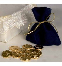 Blue glass bag with 13 Golden draws