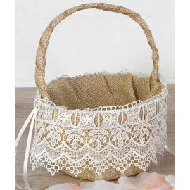 Burlap burlap basket with lace and detail rhinestone