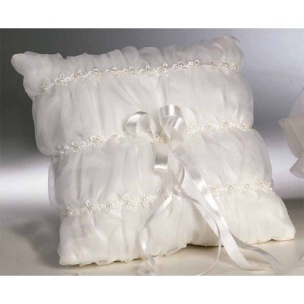 Cushion Ivory Alliances Organza Ruched and Perlite
